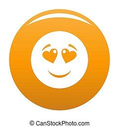Love smile icon orange