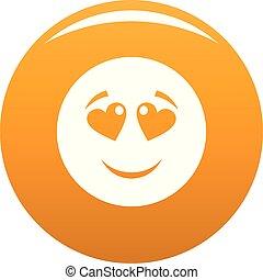 Love smile icon vector orange