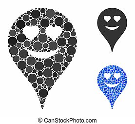 Love smiley map marker Composition Icon of Circle Dots