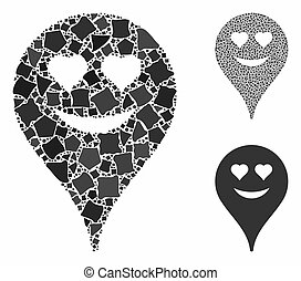 Love smiley map marker Composition Icon of Inequal Pieces