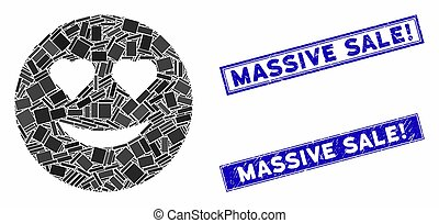 Love Smiley Mosaic and Grunge Rectangle Massive Sale! Seals
