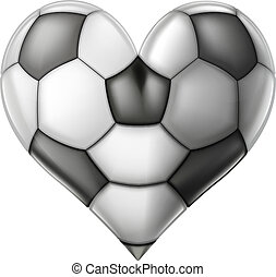 A soccer or football ball heart, conceptual illustration for a love of football