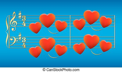Love Song Hearts Gold - Love song composed of glowing red ...