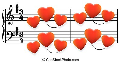 Love Song Hearts - Love song composed of glowing red hearts...