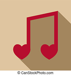 Love song icon, flat style - Love song icon. Flat...