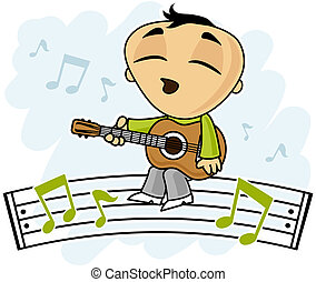 Little boy playing love song on the guitar vector cartoon illustration.