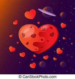 Planet in the form of a heart for Valentine's Day.