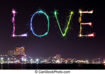 Love sparkle Fireworks celebrating Pattaya beach at night
