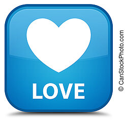 Love special cyan blue square button