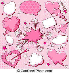 Love speech bubbles - Comics style love speech bubbles