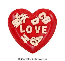 love spell with Wooden alphabet blocks on heart shape plate