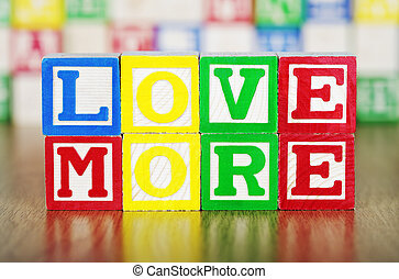 Love Spelled Out in Alphabet Building Blocks