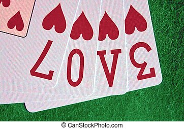 Love spelled with playing cards
