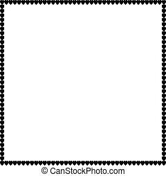 Love square photo border made of cartoon black hearts on white