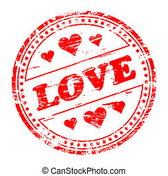 """Rubber stamp illustration showing """"LOVE"""" text and heart"""