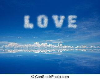 love - Word love of cloud over blue sky.