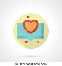 Love stories vector icon flat round style