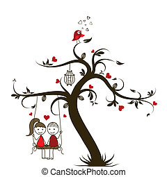 Love story card, vector illustration