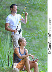 love story couple is fishing