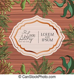 love story frame with leafs in wooden background
