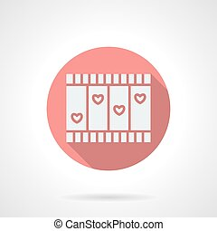Love story movie round pink flat vector icon