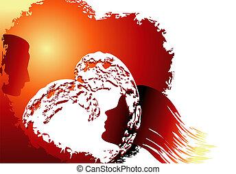 love sun background - Valentine's day illustration with ...