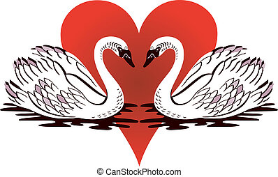 Love Swans - Vector Illustration of love swans swimming with...