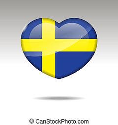 Love SWEDEN symbol. Heart flag icon.
