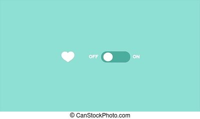 Love switcher. Romantic ON-OFF animation of a toggle switch. Valentine Day activate.