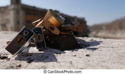 love symbol - Padlocks on Pons Fabricius bridge, Love locks...