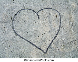 Love symbol - A lover write a love symbol on the stone