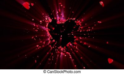 Love symbol. Valentine. 3D animation - The dynamic movement...