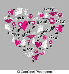 Love symbols in heart shape.