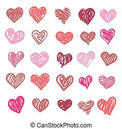 love., szív, isolated., ábra