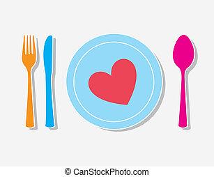 Love tableware over white background vector illustration
