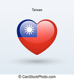 Love Taiwan symbol. Heart flag icon.
