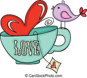 Love tea cup and cute bird