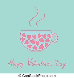 Love teacup with hearts. Happy Valentines Day card. Blue and pink. Flat design.