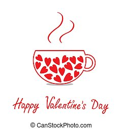 Love teacup with hearts. Happy Valentines Day card.