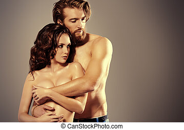 love tenderness - Portrait of a beautiful passionate lovers....