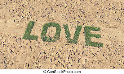 Love text made from fresh grass 1