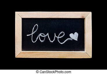 Love text on black board background