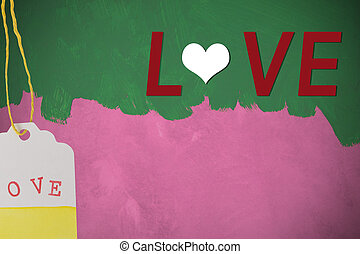 love text on green painted brush on pink cement wall background