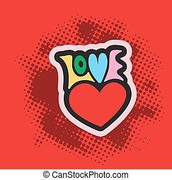 Love text with heart symbol romantic background. Vector illustration. Romance label decoration