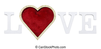 love text with red heart shape isolated on white background