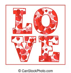 Love text with red hearts