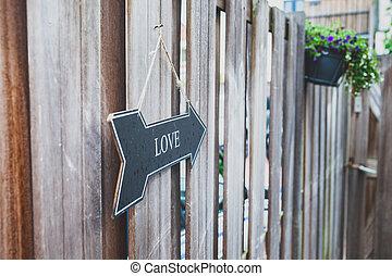 'love', texto, jardín, cuelga, señal