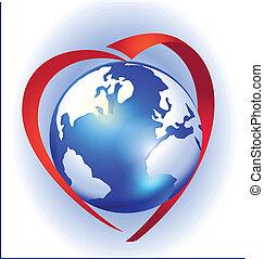 Love the earth logo vector