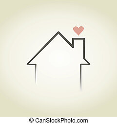 Love the house - Heart from a house pipe. A vector...