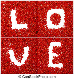 LOVE - The word love is spelled using cinnamon heart candy.